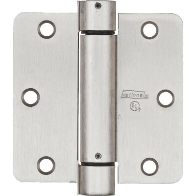 National 3.5 In. Satin Nickel 1/4 In. Radius Spring Door Hinge