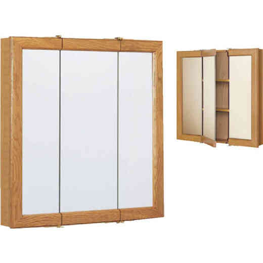Continental Cabinets Oak 30 In. W x 28-3/4 In. H x 4-1/2 In. D Tri-View Surface Mount Medicine Cabinet