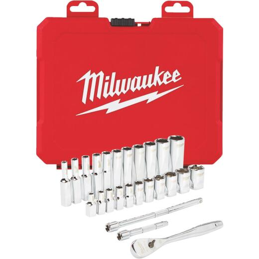 Milwaukee Standard 1/4 In. Drive 6-Point Ratchet & Socket Set (26-Piece)