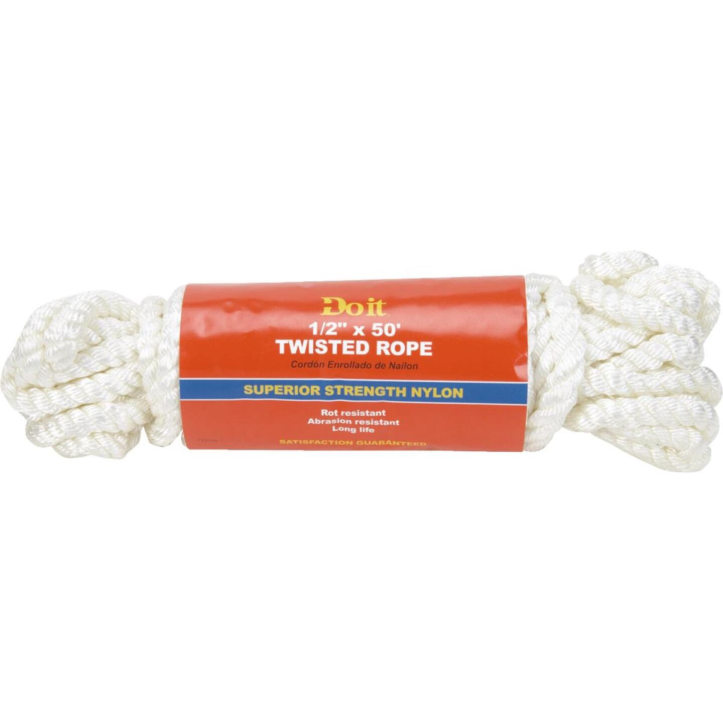 Do it 1/2 In. x 50 Ft. White Twisted Nylon Packaged Rope Image 1